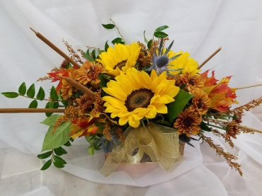 Rustic Sunflowers and Cattails