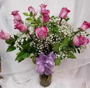 1 Dozen Purple Roses